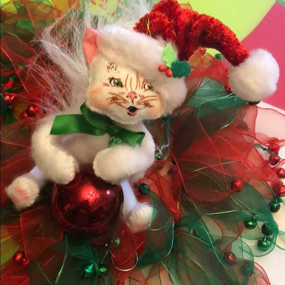 Annalee posable Christmas kitty Cat decor